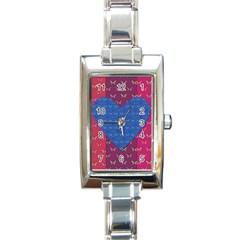 Butterfly Heart Pattern Rectangle Italian Charm Watch