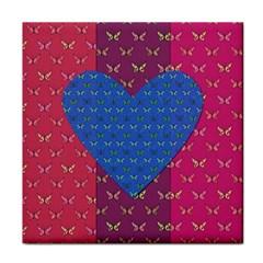 Butterfly Heart Pattern Tile Coasters