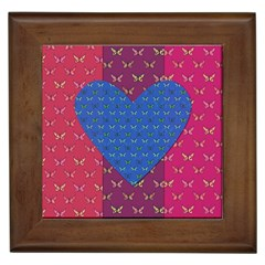 Butterfly Heart Pattern Framed Tiles