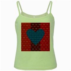 Butterfly Heart Pattern Green Spaghetti Tank
