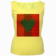 Butterfly Heart Pattern Women s Yellow Tank Top