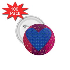 Butterfly Heart Pattern 1.75  Buttons (100 pack)