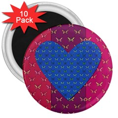 Butterfly Heart Pattern 3  Magnets (10 pack)
