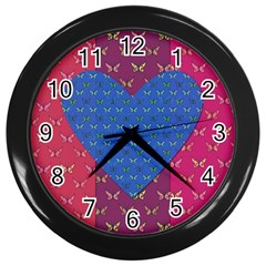 Butterfly Heart Pattern Wall Clocks (Black)