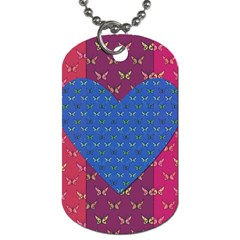Butterfly Heart Pattern Dog Tag (Two Sides)