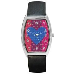 Butterfly Heart Pattern Barrel Style Metal Watch