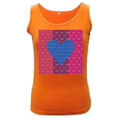 Butterfly Heart Pattern Women s Dark Tank Top