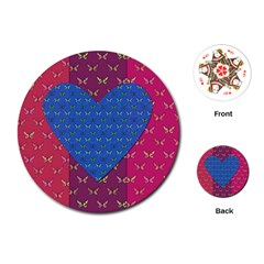 Butterfly Heart Pattern Playing Cards (round)