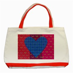 Butterfly Heart Pattern Classic Tote Bag (Red)