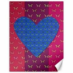 Butterfly Heart Pattern Canvas 12  x 16