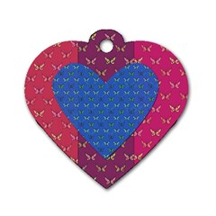 Butterfly Heart Pattern Dog Tag Heart (Two Sides)