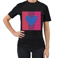 Butterfly Heart Pattern Women s T Shirt (black)