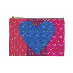 Butterfly Heart Pattern Cosmetic Bag (Large)