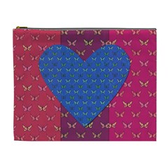Butterfly Heart Pattern Cosmetic Bag (XL)