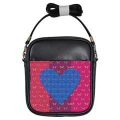 Butterfly Heart Pattern Girls Sling Bags