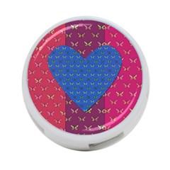 Butterfly Heart Pattern 4-Port USB Hub (One Side)