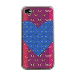 Butterfly Heart Pattern Apple iPhone 4 Case (Clear)