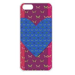 Butterfly Heart Pattern Apple iPhone 5 Seamless Case (White)