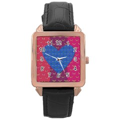 Butterfly Heart Pattern Rose Gold Leather Watch