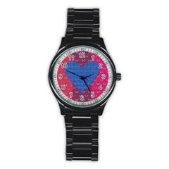 Butterfly Heart Pattern Stainless Steel Round Watch