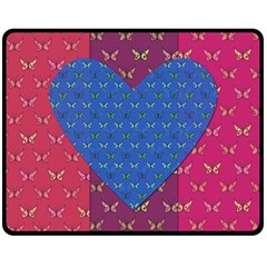 Butterfly Heart Pattern Double Sided Fleece Blanket (medium)