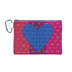 Butterfly Heart Pattern Canvas Cosmetic Bag (M)