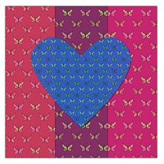 Butterfly Heart Pattern Large Satin Scarf (square)