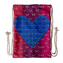 Butterfly Heart Pattern Drawstring Bag (large)
