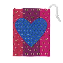 Butterfly Heart Pattern Drawstring Pouches (Extra Large)