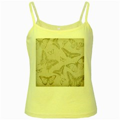 Butterfly Background Vintage Yellow Spaghetti Tank
