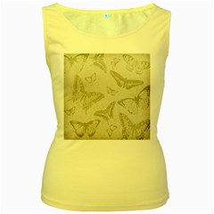Butterfly Background Vintage Women s Yellow Tank Top