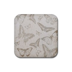 Butterfly Background Vintage Rubber Coaster (Square)