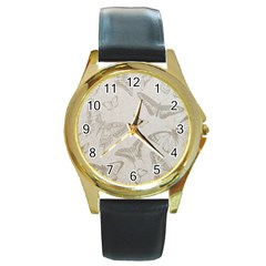 Butterfly Background Vintage Round Gold Metal Watch