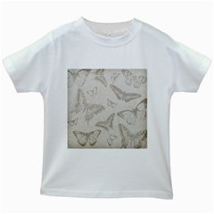 Butterfly Background Vintage Kids White T-Shirts