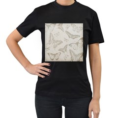 Butterfly Background Vintage Women s T-Shirt (Black) (Two Sided)