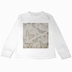 Butterfly Background Vintage Kids Long Sleeve T Shirts