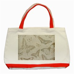 Butterfly Background Vintage Classic Tote Bag (red)