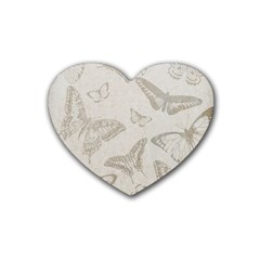 Butterfly Background Vintage Heart Coaster (4 Pack)