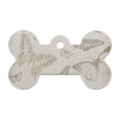 Butterfly Background Vintage Dog Tag Bone (Two Sides)