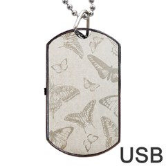 Butterfly Background Vintage Dog Tag USB Flash (One Side)