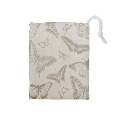 Butterfly Background Vintage Drawstring Pouches (medium)