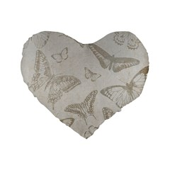 Butterfly Background Vintage Standard 16  Premium Flano Heart Shape Cushions
