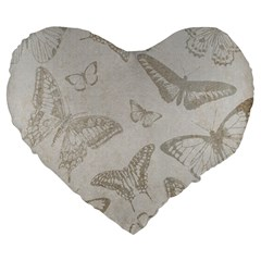 Butterfly Background Vintage Large 19  Premium Flano Heart Shape Cushions