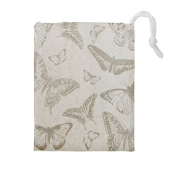Butterfly Background Vintage Drawstring Pouches (Extra Large)