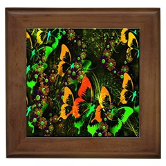 Butterfly Abstract Flowers Framed Tiles