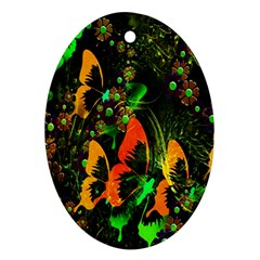 Butterfly Abstract Flowers Ornament (Oval)