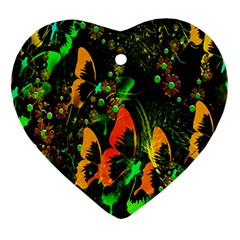 Butterfly Abstract Flowers Ornament (Heart)