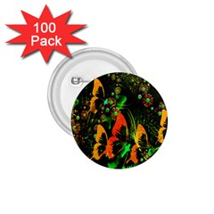 Butterfly Abstract Flowers 1 75  Buttons (100 Pack)