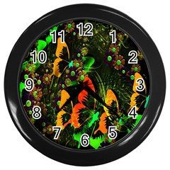 Butterfly Abstract Flowers Wall Clocks (Black)