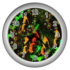 Butterfly Abstract Flowers Wall Clocks (Silver)